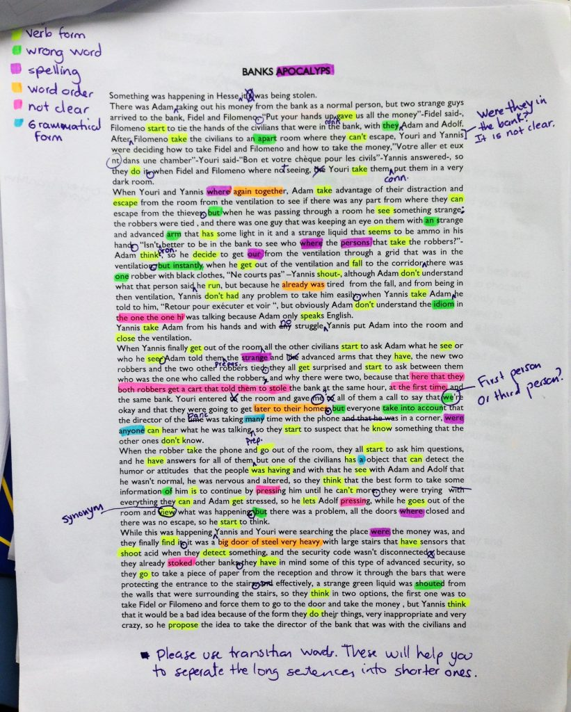 Color-coding written task feedback